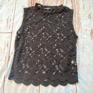 Ambience womens lace tank tiop-black-medium